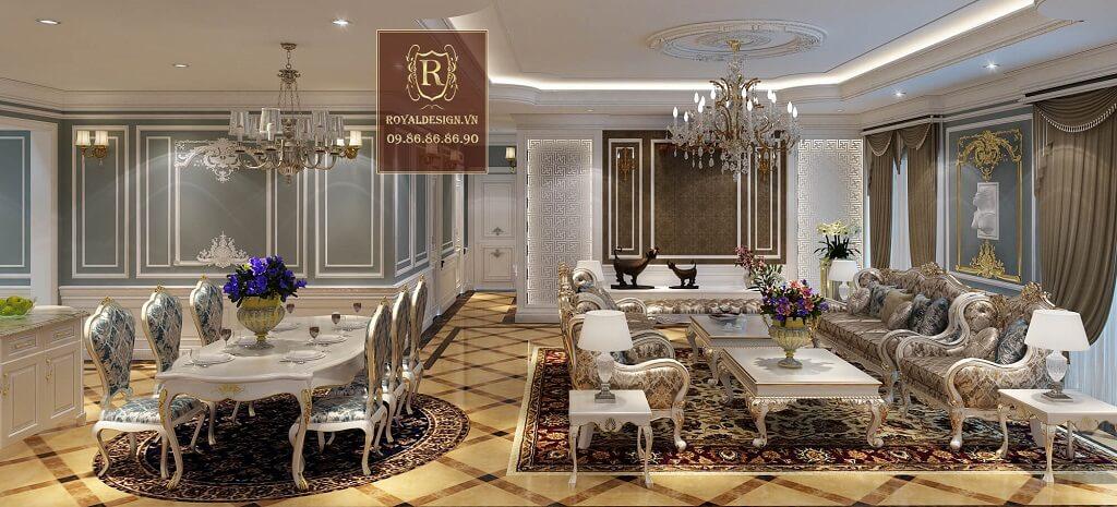 Phòng khách tân cổ điển đẹpSofa phòng khách khung gỗ sơn màu trắng ngọc trai bọc nỉ hoa văn nhập khẩu bỉ 1