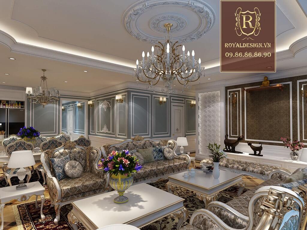 Thiết kế phòng khách phong khách quý tộc