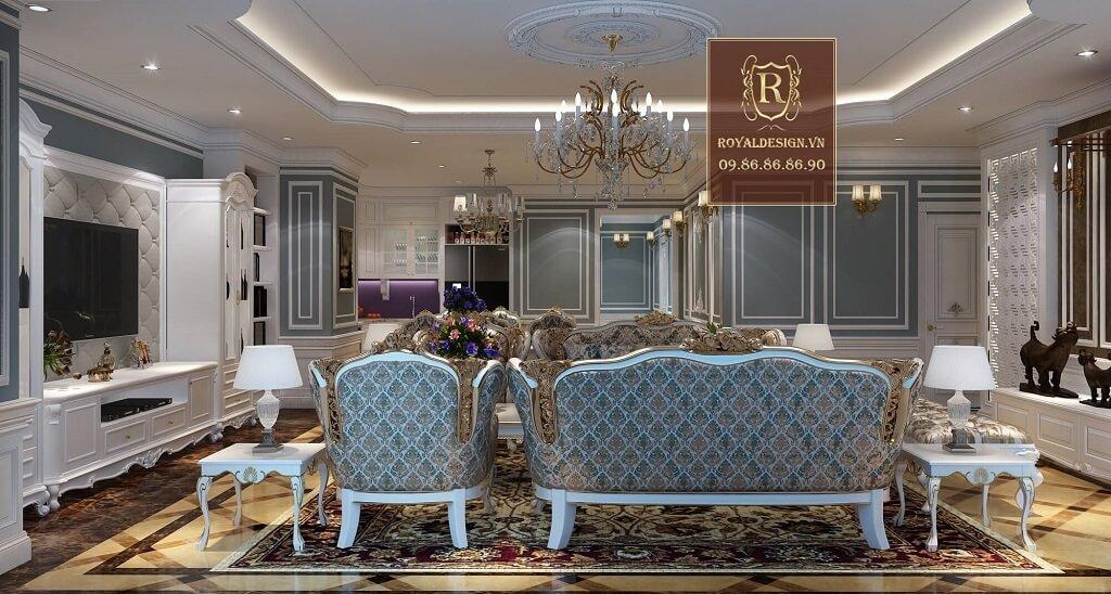 thiết kế nội thất phòng khách tân cổ điển màu trắng dát vàng bọc nỉ hoa văn nhập khẩu view nhìn từ cửa vào