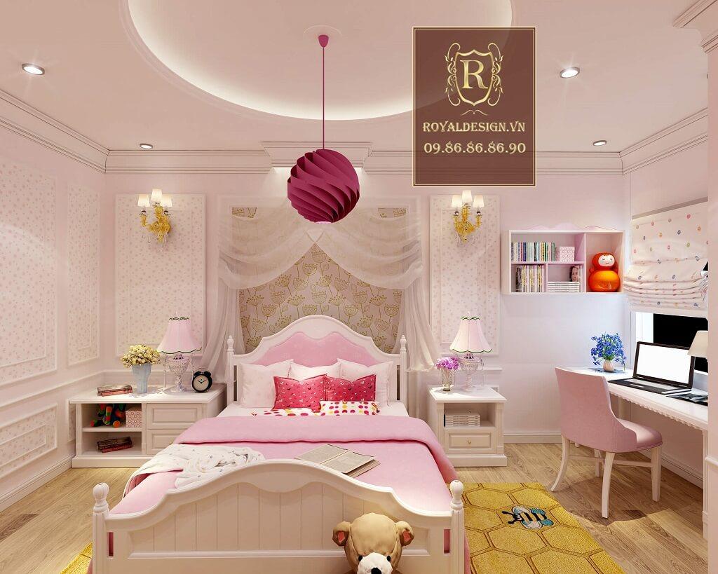 Phòng ngủ con gái màu hồng