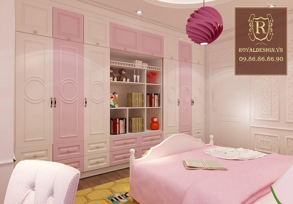 Phòng ngủ màu hồng tân cổ điển cho bé gái