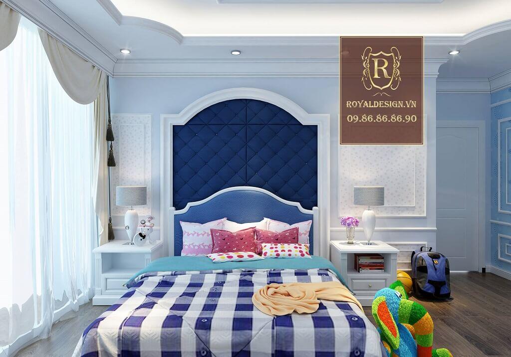 Mẫu phòng ngủ bé trai màu xanh