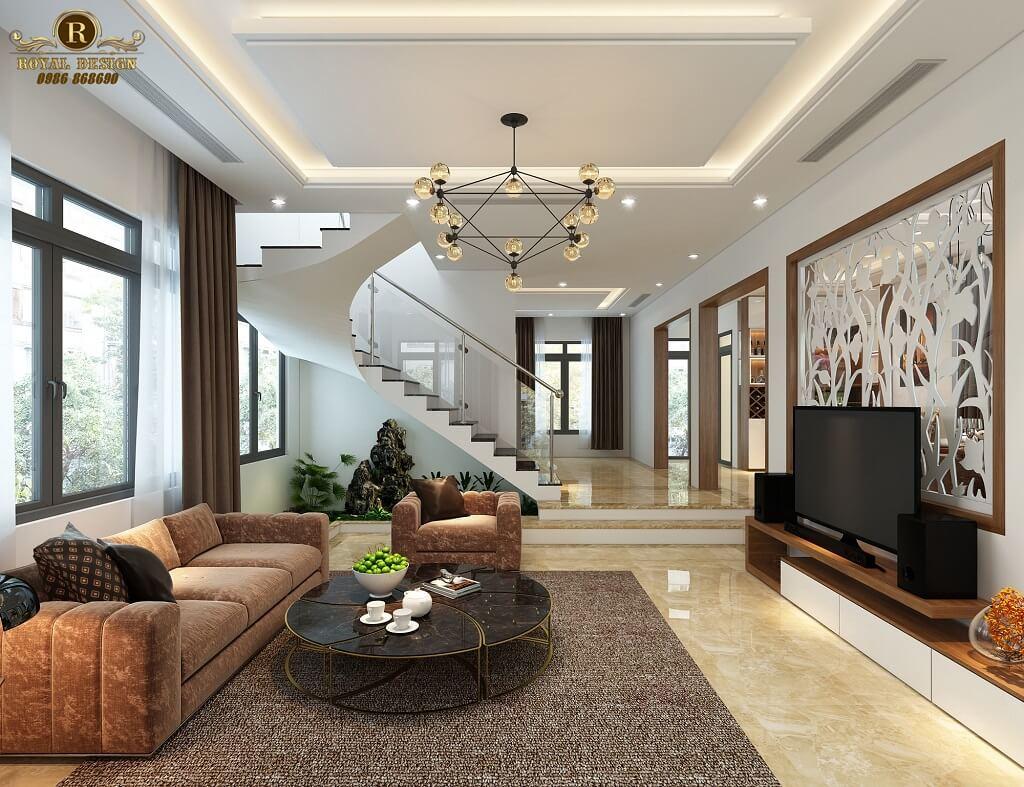 Phối cảnh 3D thiết kế nội thất tầng 1 phòng khách - 02