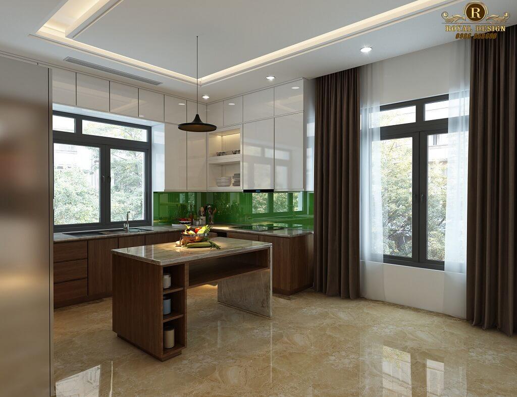 Phối cảnh 3D thiết kế nội thất tầng 1 phòng bếp 01