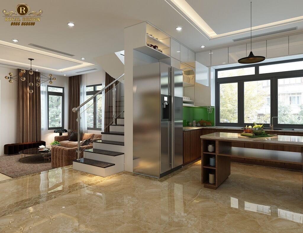 Phối cảnh 3D thiết kế nội thất tầng 1 phòng bếp 03
