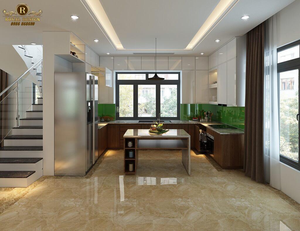 Phối cảnh 3D thiết kế nội thất tầng 1 phòng bếp 02