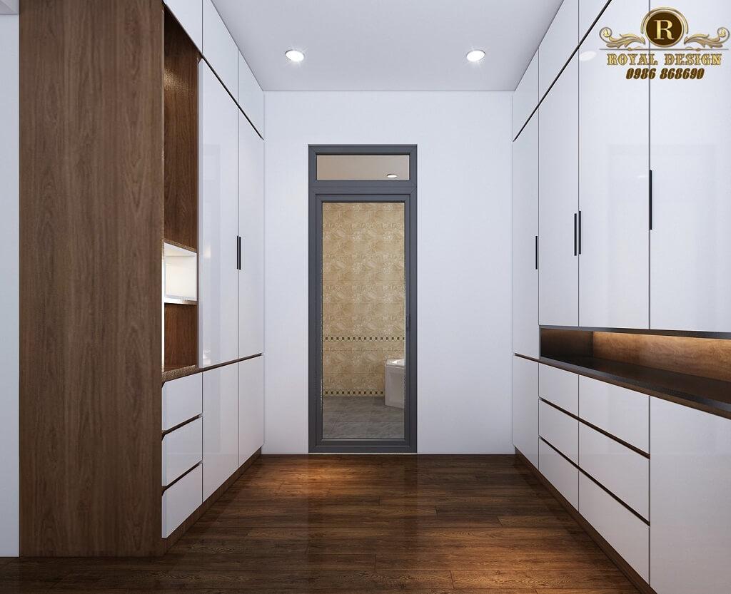 Phối cảnh 3D thiết kế nội thất tầng 2 phòng thay đồ