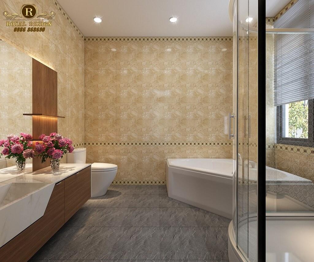 Phối cảnh 3D thiết kế nội thất tầng 1 phòng wc tầng 2