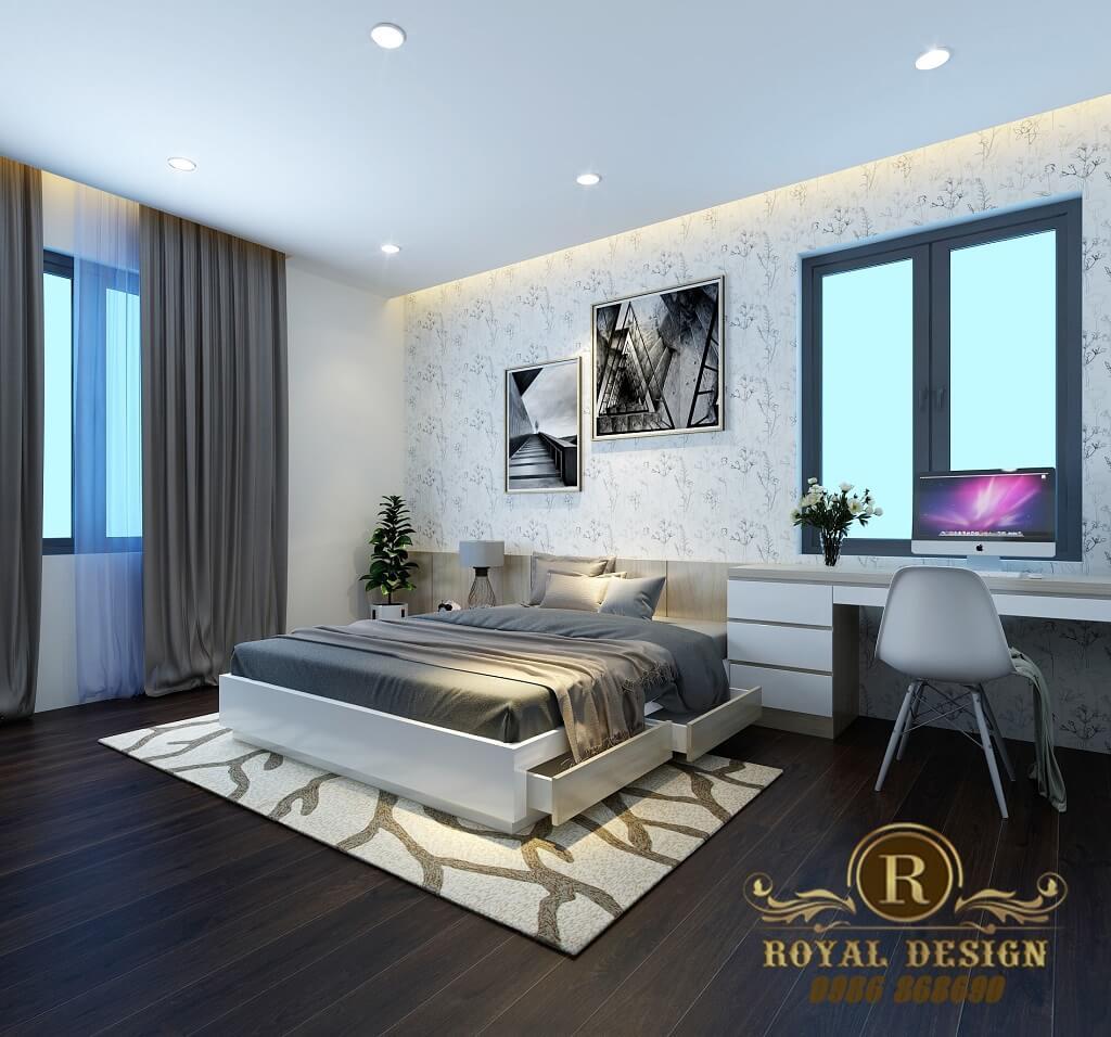 Phối cảnh 3D thiết kế nội thất tầng 3 phòng ngủ con