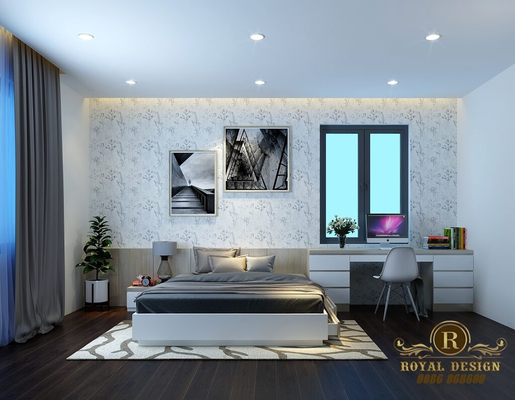 Phối cảnh 3D thiết kế nội thất tầng 3 phòng ngủ con01