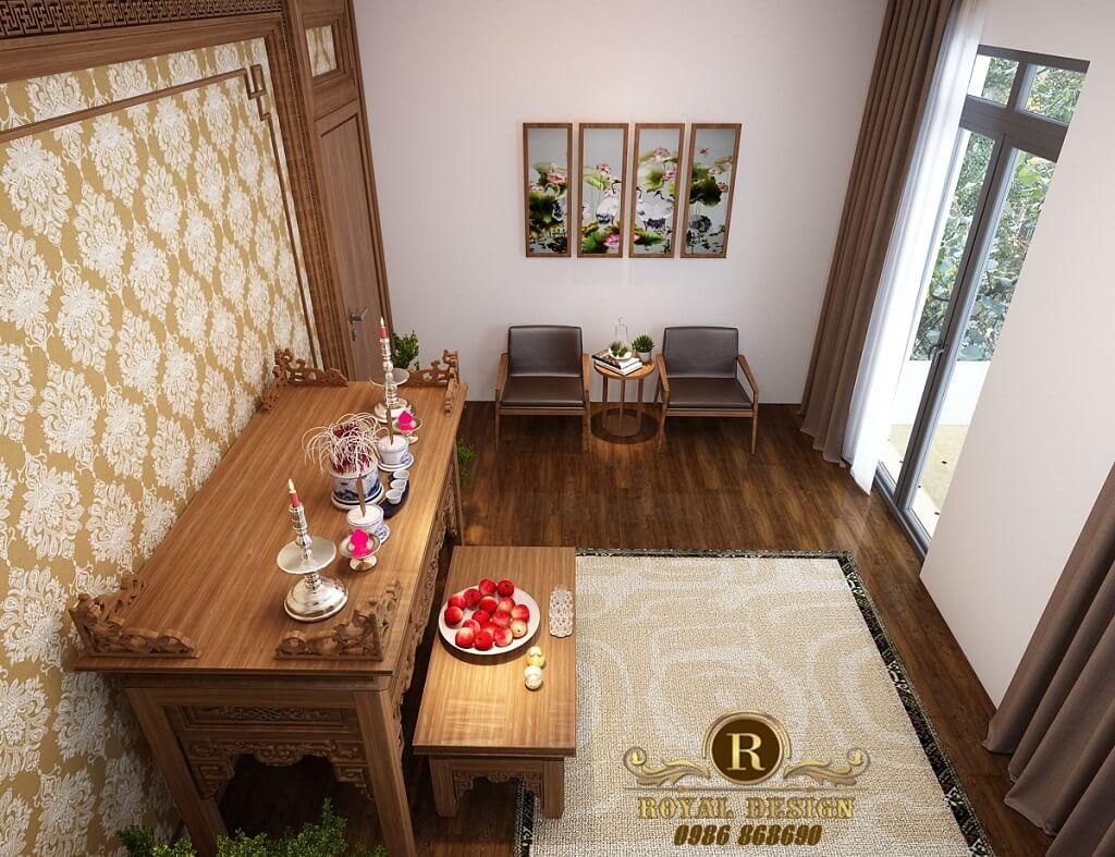 Phối cảnh 3D thiết kế nội thất tầng 3 phòng thờ01