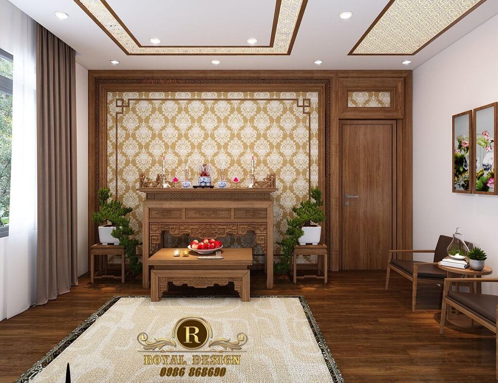 Phối cảnh 3D thiết kế nội thất tầng 3 phòng thờ