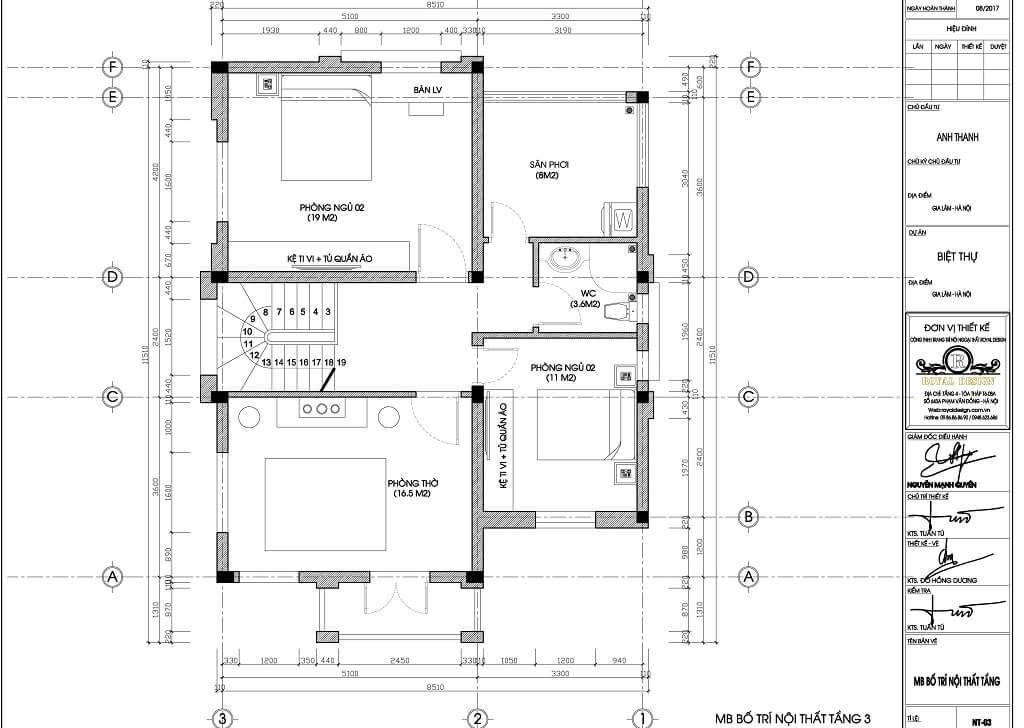 Mặt bằng bố trí nội thất tầng 3