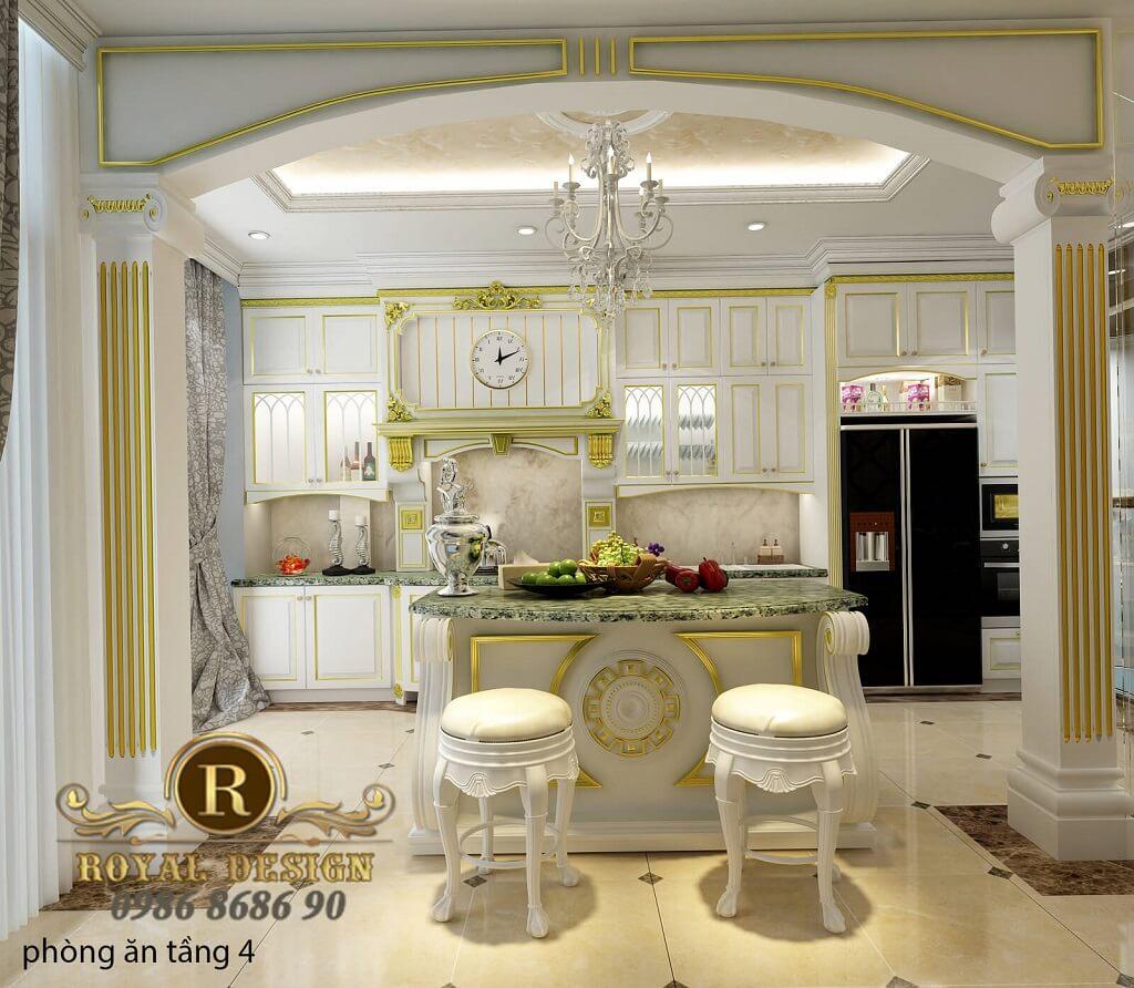 Thiết kế nội thất phòng bếp ăn tân cổ điển màu trắng dát vàng họa tiết tầng 2