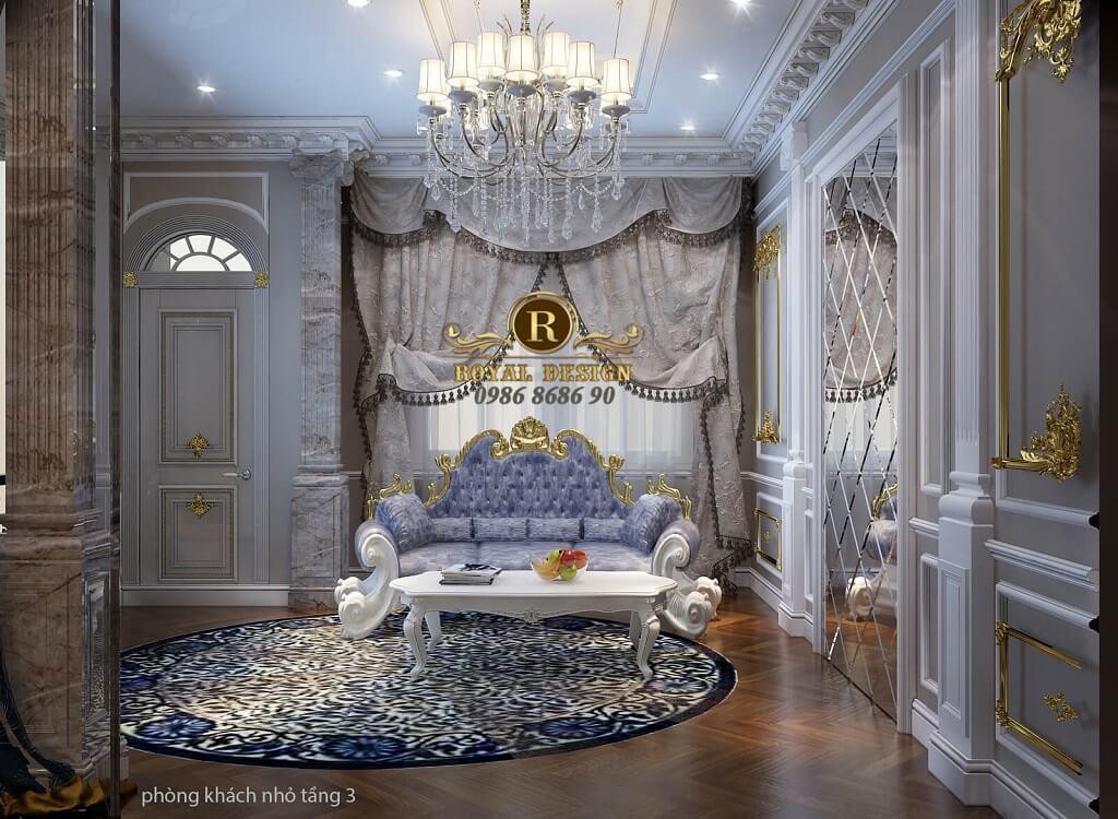 thiết kế nội thất phòng khách phụ tân cổ điển màu gỗ dát vàng điểm họa tiết, bộ sofa hoàng gia hoành trán
