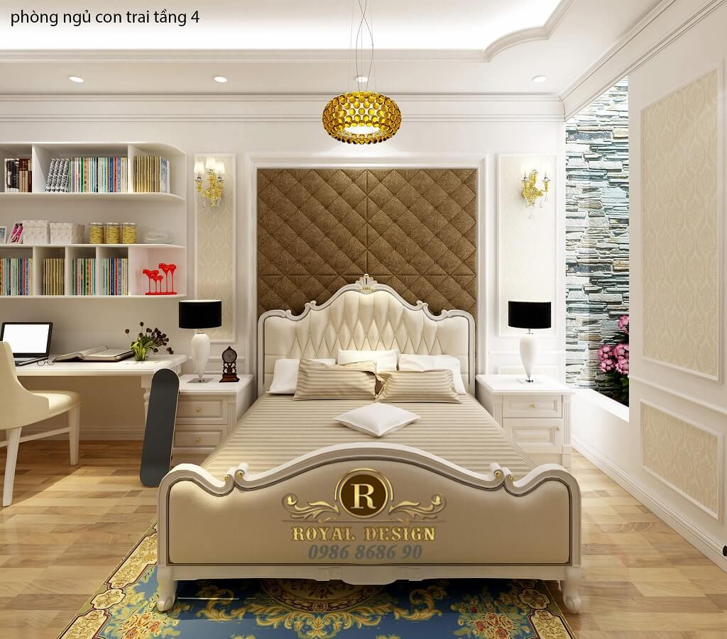thiết kế nội thất phòng ngủ con trai tân cổ điển