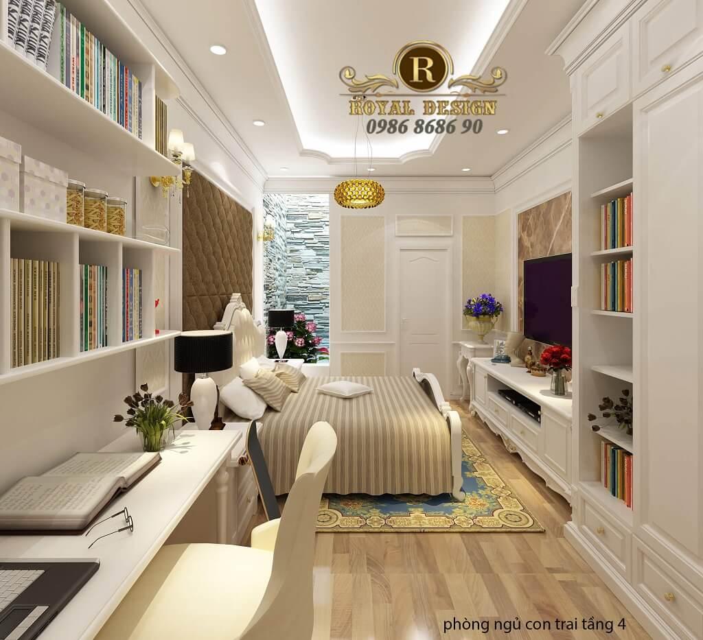 thiết kế nội thất phòng ngủ con trai tân cổ điển 2
