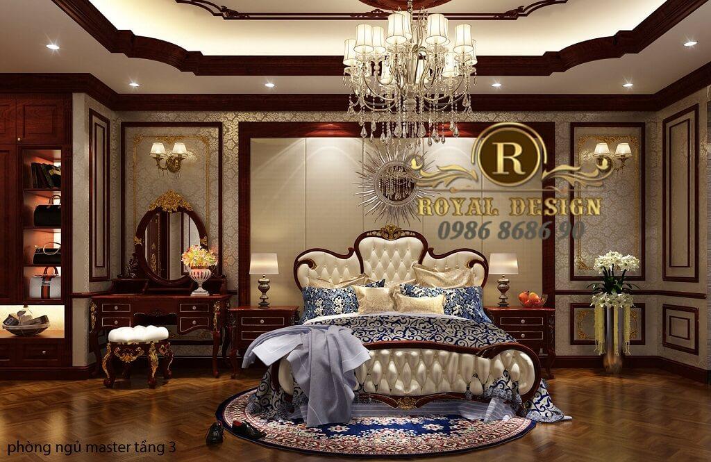 thiết kế phòng ngủ master tân cổ điển màu gỗ gõ đỏ dát vàng họa tiết