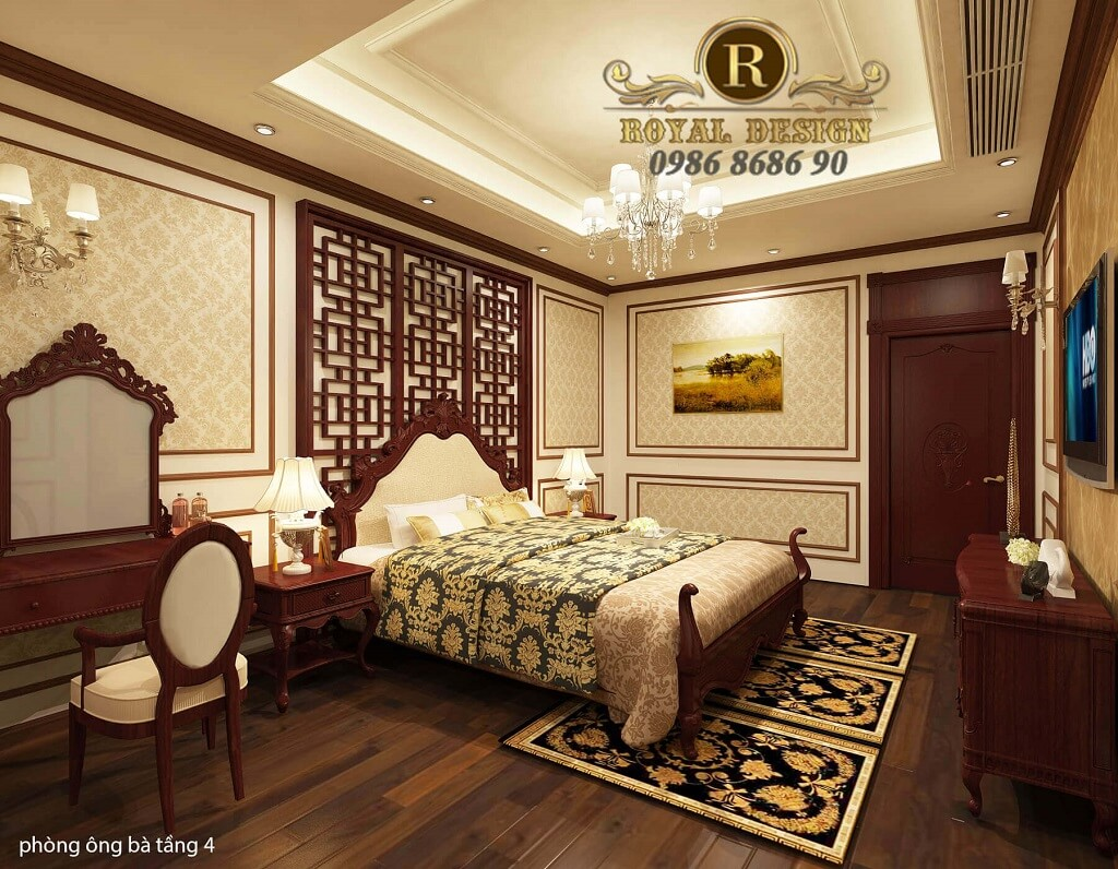 thiết kế phòng ngủ ông bà tân cổ điển màu gỗ gõ đỏ dát vàng họa tiết 1