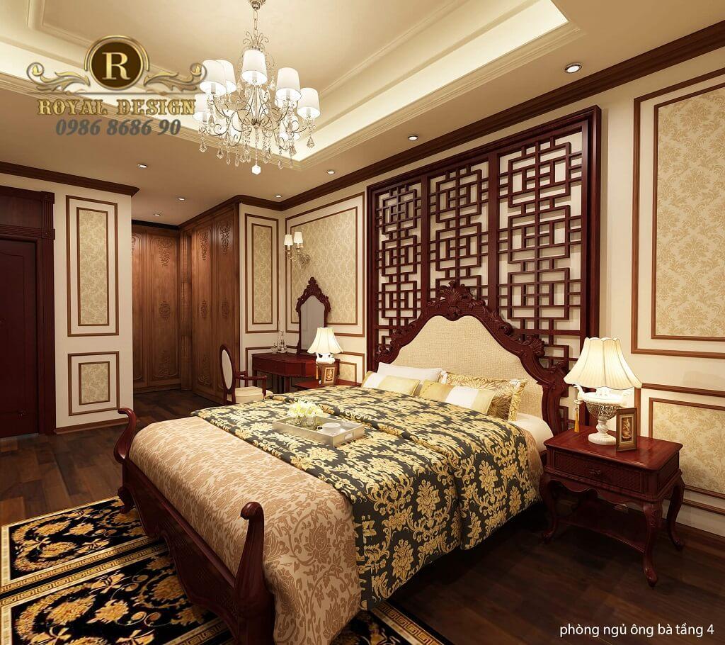 thiết kế phòng ngủ ông bà tân cổ điển màu gỗ gõ đỏ dát vàng họa tiết