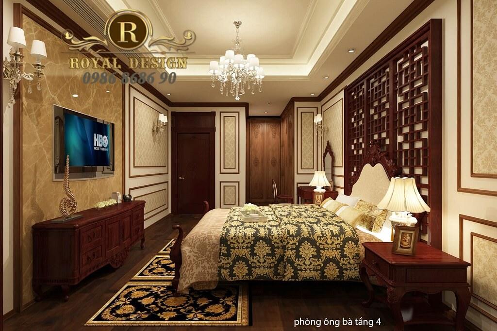 thiết kế phòng ngủ ông bà tân cổ điển màu gỗ gõ đỏ dát vàng họa tiết 2