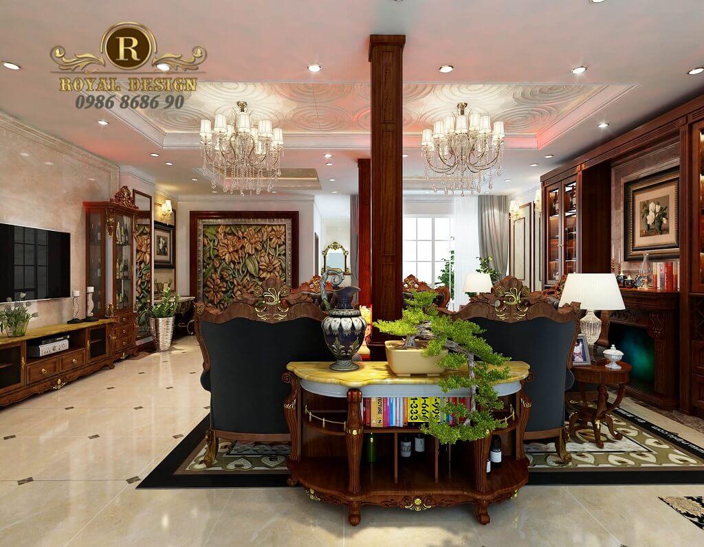 thiết kế nội thất phòng khách tân cổ điển màu gỗ dát vàng điểm họa tiết, tầng 1, nhìn từ ngoài cửa vào, view 2
