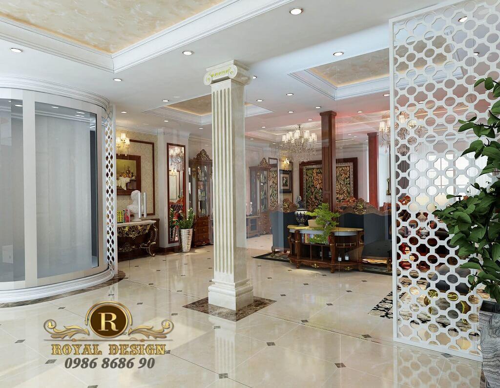 thiết kế nội thất phòng khách tân cổ điển màu gỗ dát vàng điểm họa tiết, view thang máy