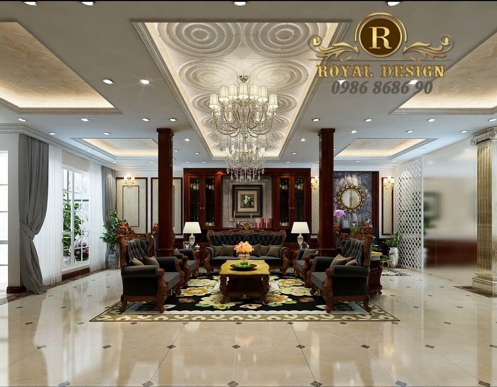 thiết kế nội thất phòng khách tân cổ điển màu gỗ dát vàng điểm họa tiết, view nhìn từ kệ tivi