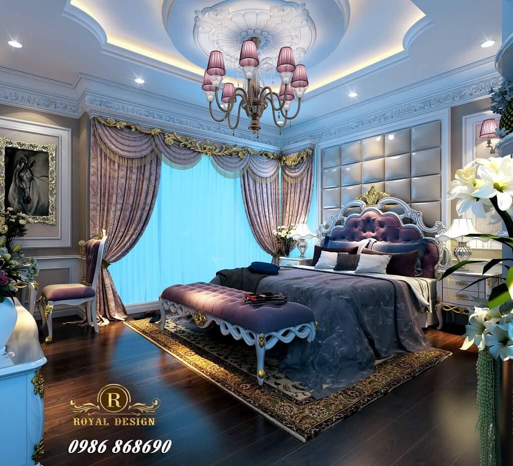 Giường ngủ tân cổ điển màu tím