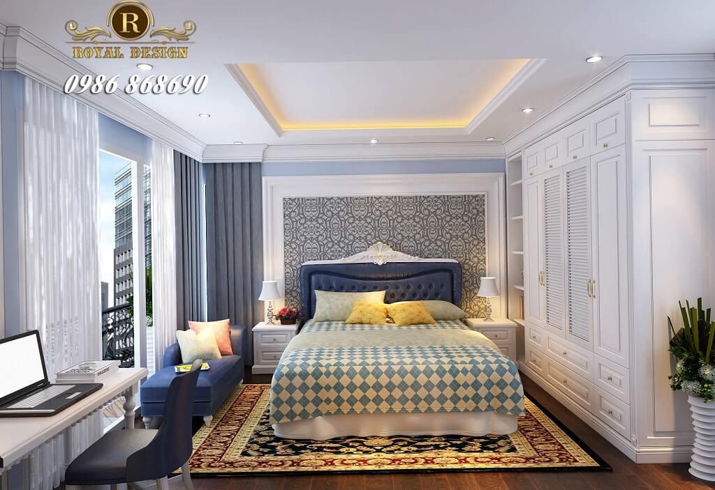 Phòng ngủ tân cổ điển con trai màu xanh