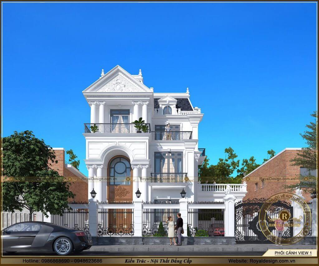 Mẫu biệt thự 3 tầng tân cổ điển đẹp nguy nga tráng lệ
