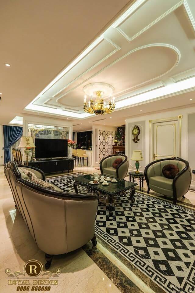 Trang trí nội thất phòng khách Luxury