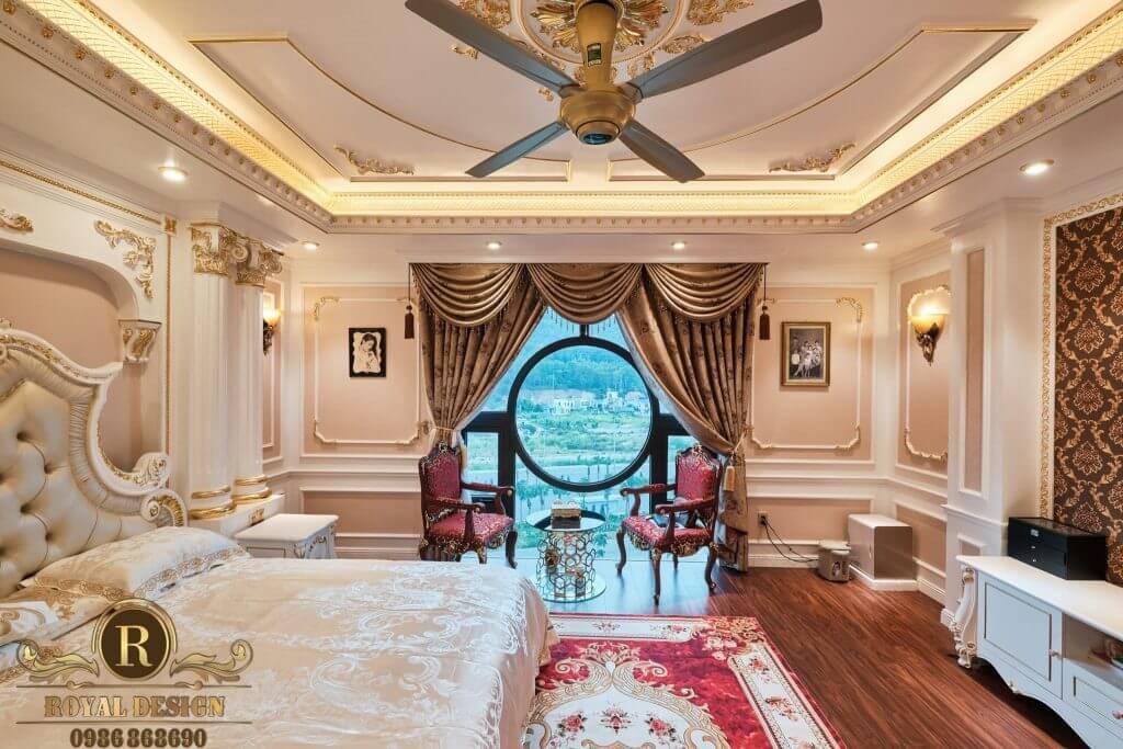 view nội thất phòng khách tân cô điển
