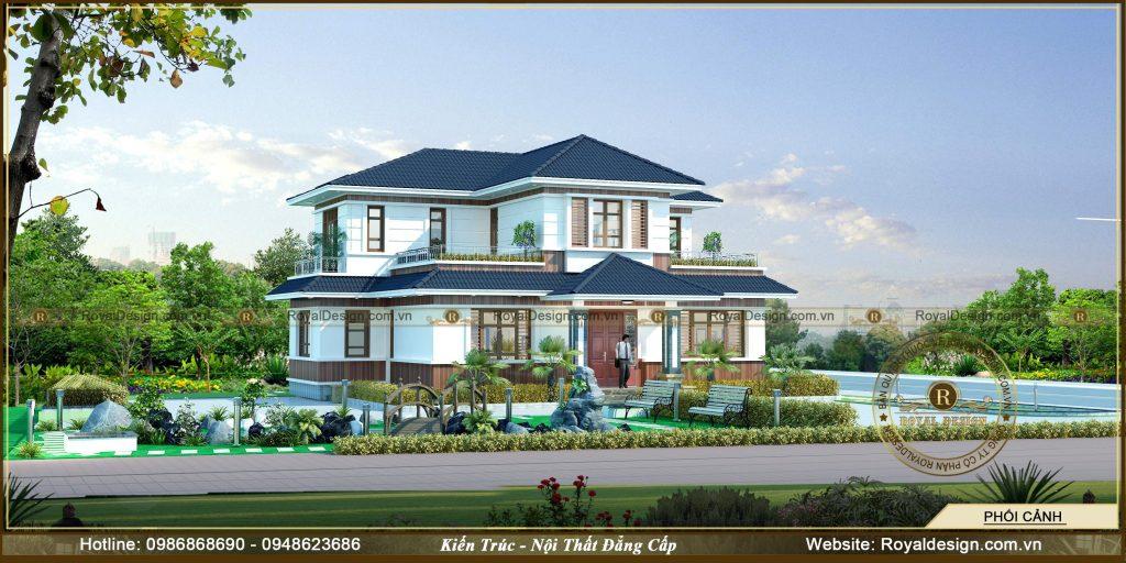 Mẫu biệt thự mái thái 2 tầng diện tích 28,5x18m nhà anh Hải - Royaldesign - Kiến Trúc và Nội ...
