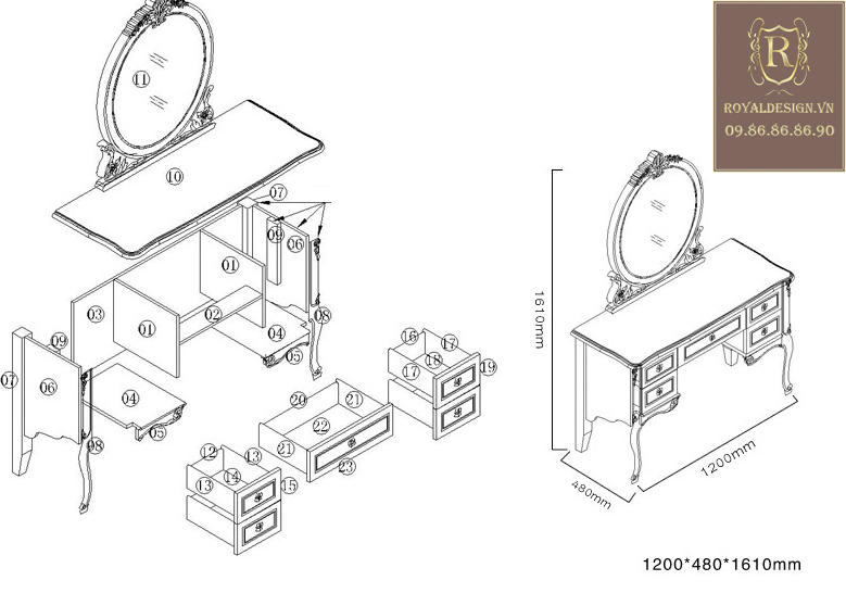 Bàn Phấn Tân Cổ Điển 002-10