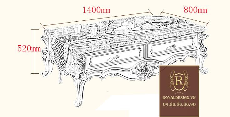 Kích cỡ bàn trà tân cổ điển 002