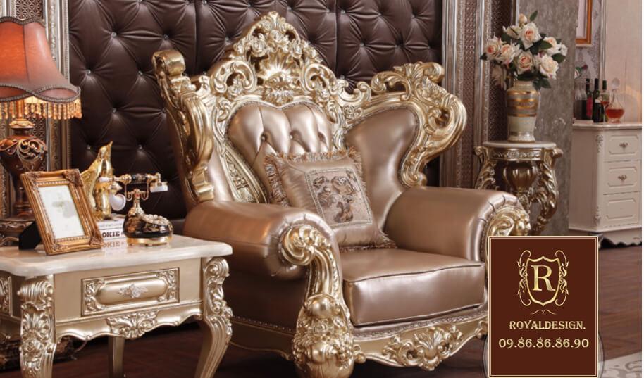 Ghế sofa tân cổ điển 031 dát vàng công nghiệp ý 100%, sản xuất thủ công tại việt nam