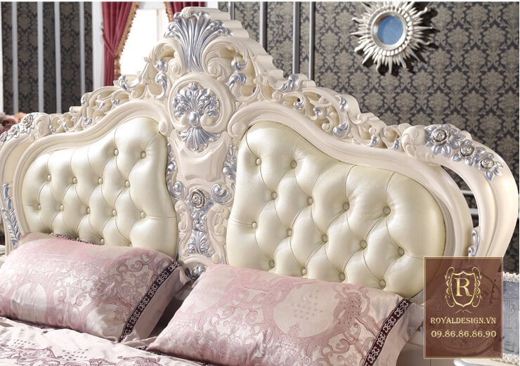 Giường ngủ tân cổ điển trắng ngọc trai 7
