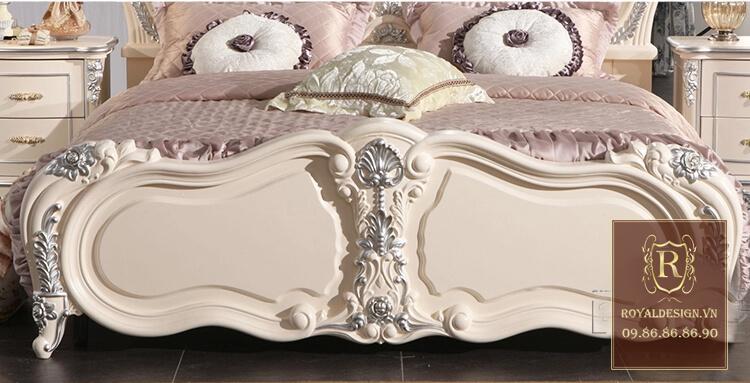 Giường ngủ tân cổ điển trắng ngọc trai 19