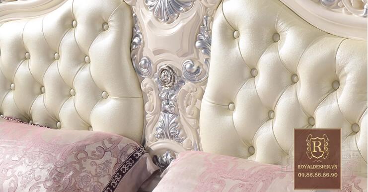 Giường ngủ tân cổ điển trắng ngọc trai 15