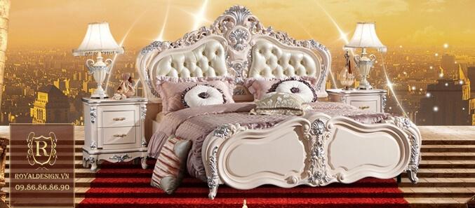 Giường ngủ tân cổ điển trắng ngọc trai 4