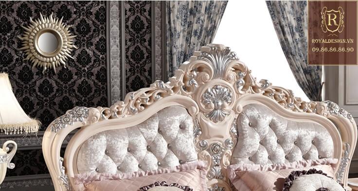 Giường ngủ tân cổ điển trắng ngọc trai 8