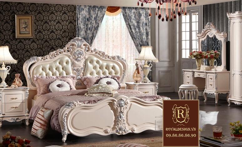 Giường ngủ tân cổ điển trắng ngọc trai 1