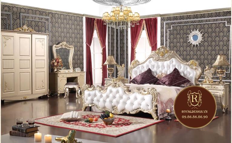 Mẫu giường ngủ tân cổ điển màu trắng 026 - ảnh 1