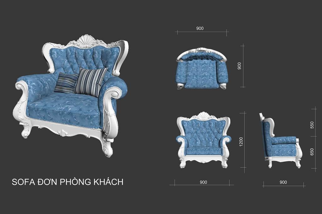 Kích thước ghế sofa 1 tân cổ điển