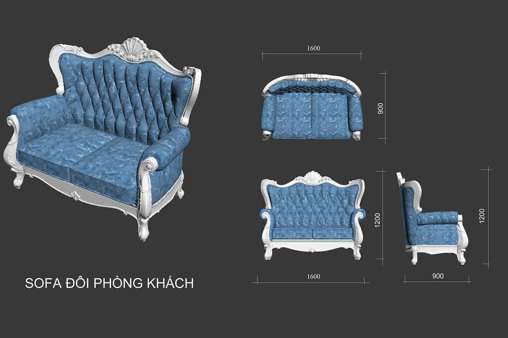 Kích thước ghế sofa 2 tân cổ điển