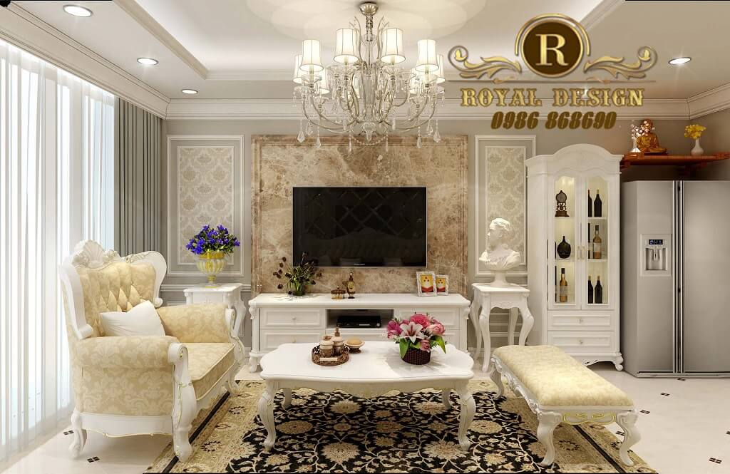 Ghế sofa tân cổ điển 032 gỗ sồi bọc nỉ cỏ may màu vàng hoa văn hoàng gia