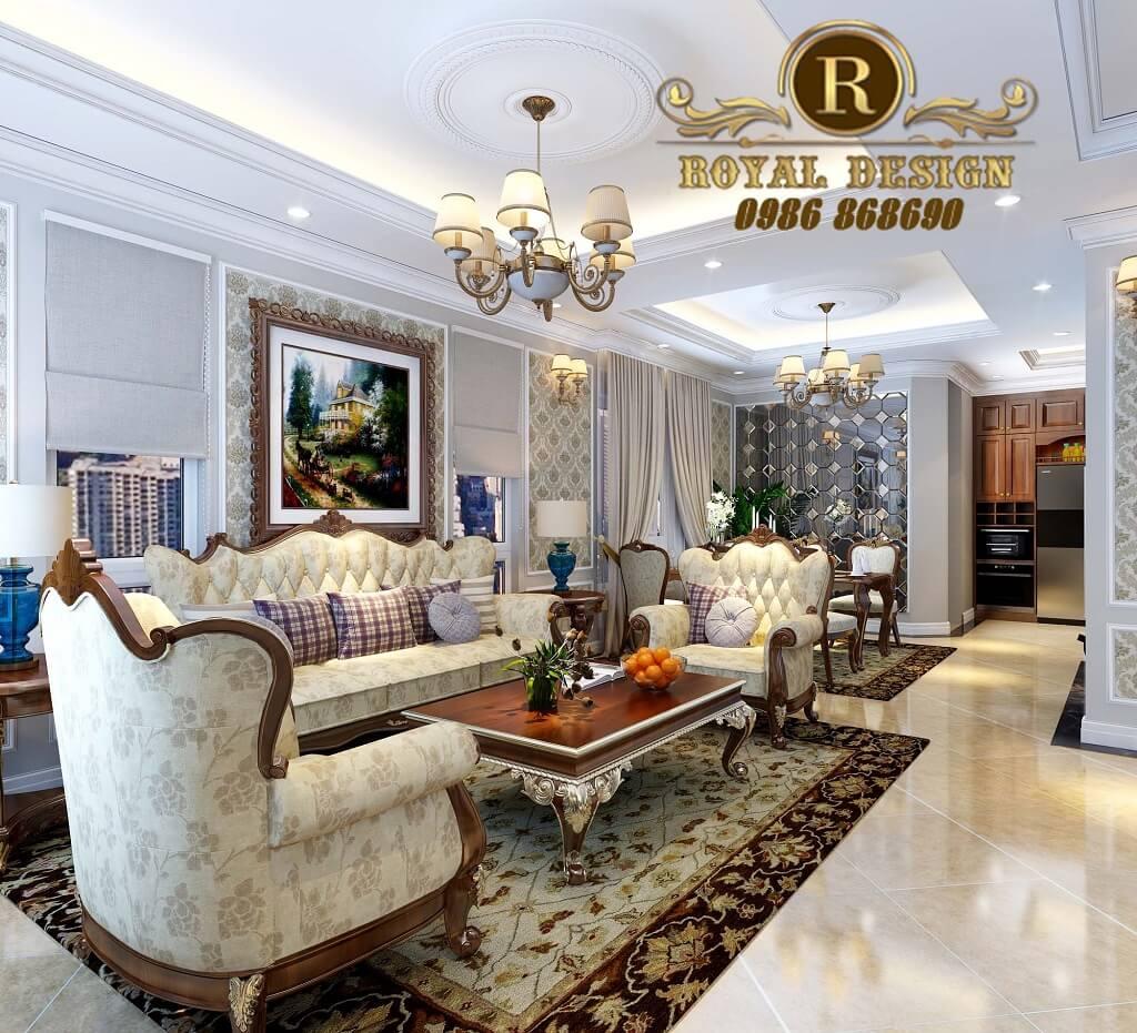 Mẫu ghế sofa tân cổ điển màu gỗ dát vàng 033 sản xuất tại xưởng chàng sơn hà nội