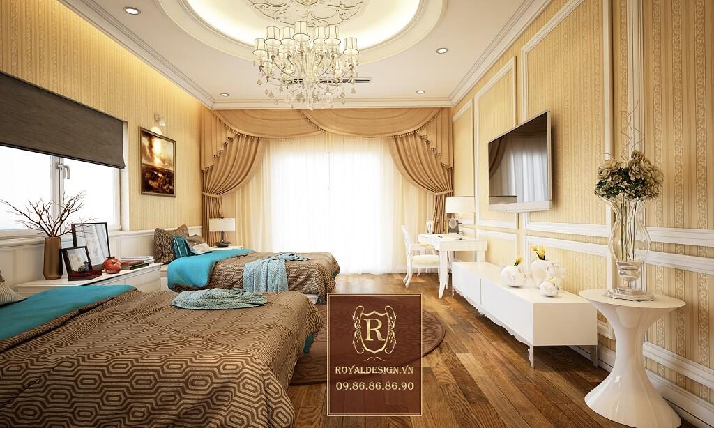 Thiết kế nội thất phòng ngủ đôi tân cổ điển