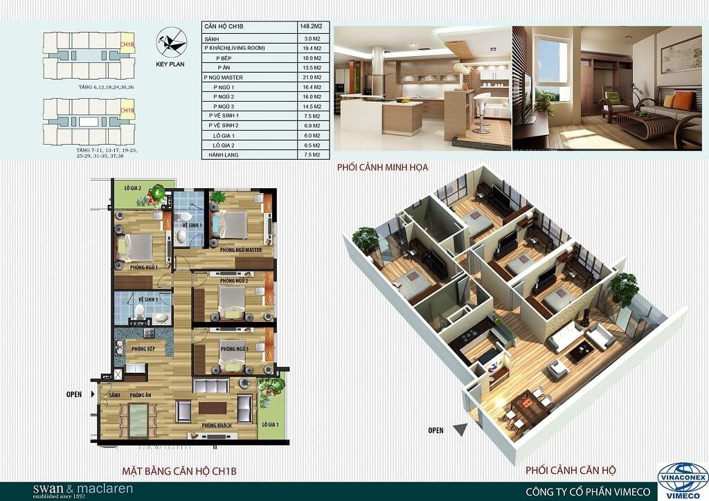 mặt bằng bố trí căn hộ ch1b ct4 vimeco 4 phòng ngủ cơ bản ban đầu